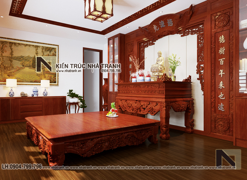 Ảnh: Phối cảnh nội thất phòng thờ mẫu thiết kế cải tạo biệt thự vườn 3 tầng kiến trúc Pháp có hành lang nối NT- B6385