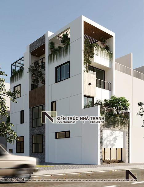 Ảnh: Phối cảnh tổng thể 01 mẫu nhà phố 4 tầng nhiều cây xanh NT-L3681