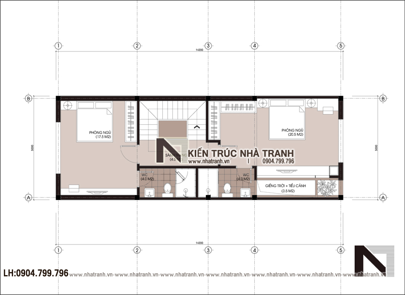 Ảnh: Mặt bằng tầng 01 mẫu nhà lô phố 5 tầng mặt tiền 5m có giếng trời hiện đại NT-L3678