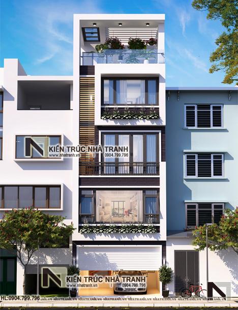 Ảnh: Phối cảnh tổng thể mẫu nhà lô phố 5 tầng mặt tiền 5m có giếng trời hiện đại NT-L3678