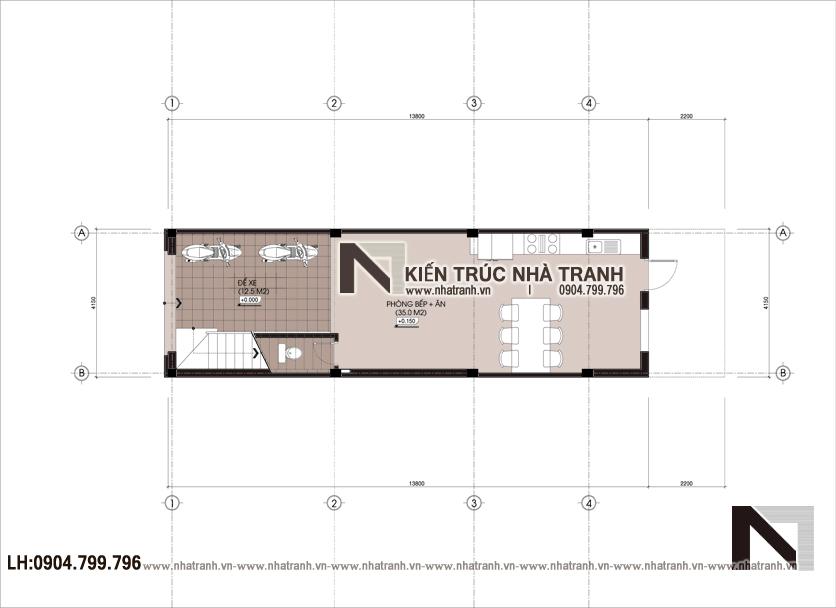 Ảnh: Mặt bằng quy hoạch tổng thể mẫu thiết kế nhà ống 3 tầng 1 lửng mặt tiền 4m kiến trúc Pháp tân cổ điển NT - L3681