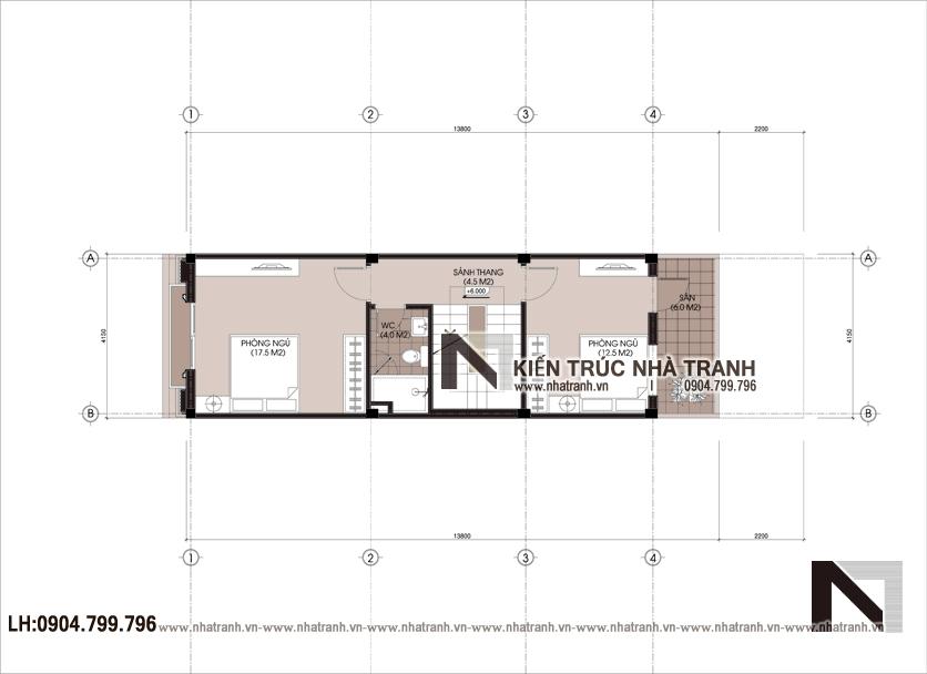 Ảnh: Mặt bằng chi tiết tầng điển hình mẫu thiết kế nhà ống 3 tầng 1 lửng mặt tiền 4m kiến trúc Pháp tân cổ điển NT - L3681