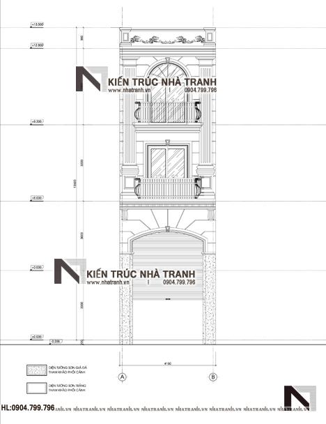 Ảnh: Mặt bằng đứng mẫu thiết kế nhà ống 3 tầng 1 lửng mặt tiền 4m kiến trúc Pháp tân cổ điển NT - L3681