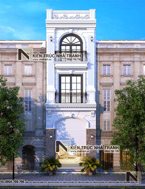 Ảnh: Phối cảnh tổng thể mẫu thiết kế nhà ống 3 tầng 1 lửng mặt tiền 4m kiến trúc Pháp tân cổ điển NT - L3681