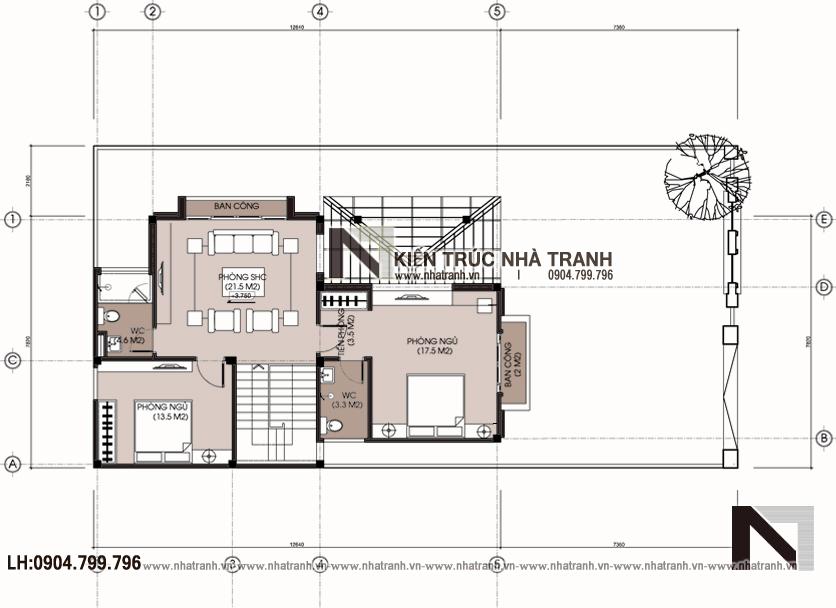 Ảnh: Mặt bằng tầng 2 mẫu thiết kế biệt thự vườn 3 tầng mặt tiền 8m mái dốc kiến trúc tân cổ điển Pháp NT-L6387