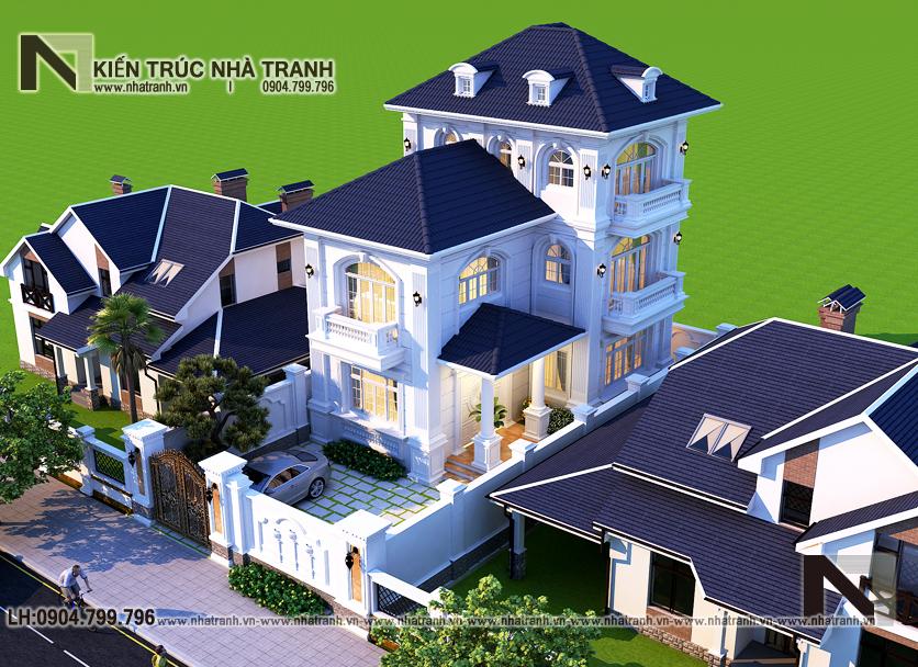 Ảnh: Phối cảnh tổng thể 01 mẫu thiết kế biệt thự vườn 3 tầng mặt tiền 8m mái dốc kiến trúc tân cổ điển Pháp NT-L6387