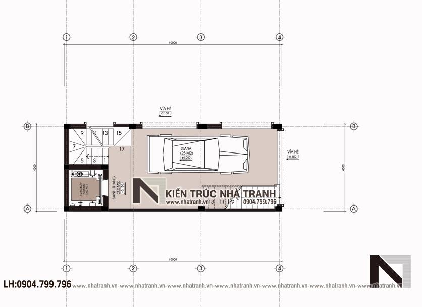 Ảnh: Mặt bằng quy hoạch tổng thể mẫu thiết kế nhà lô góc hiện đại 2 mặt tiền 6 tầng để ở kết hợp kinh doanh có thang máy NT-L3682