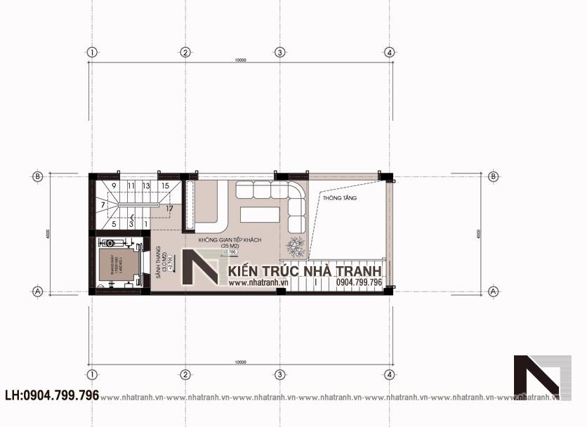 Ảnh: Mặt bằng tầng 2,4 mẫu thiết kế nhà lô góc hiện đại 2 mặt tiền 6 tầng để ở kết hợp kinh doanh có thang máy NT-L3682