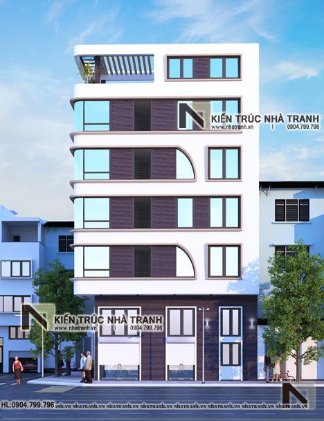 Ảnh: Phối cảnh tổng thể 02 mẫu thiết kế nhà lô góc hiện đại 2 mặt tiền 6 tầng để ở kết hợp kinh doanh có thang máy NT-L3682