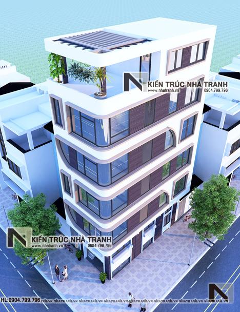 Ảnh: Phối cảnh tổng thể mẫu thiết kế nhà lô góc hiện đại 2 mặt tiền 6 tầng để ở kết hợp kinh doanh có thang máy NT-L3682