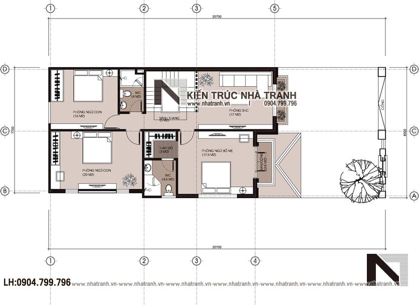 Ảnh: Mặt bằng tầng 2 mẫu thiết kế biệt thự hiện đại 3 tầng mặt tiền 8m 9m 10m có sân để xe ô tô NT-B6388.