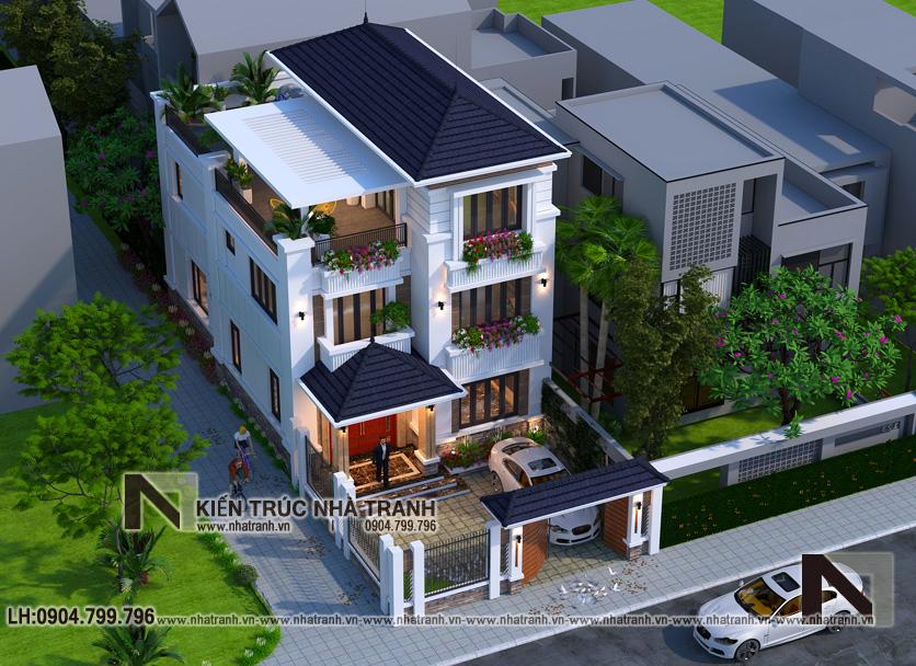 Ảnh: Phối cảnh tổng thể mẫu thiết kế biệt thự hiện đại 3 tầng mặt tiền 8m 9m 10m có sân để xe ô tô NT-B6388.