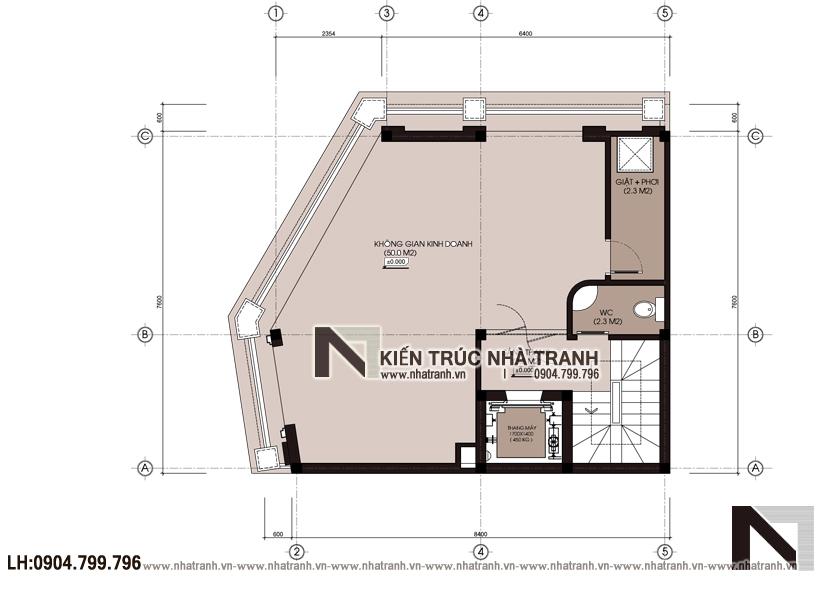 Ảnh: Mặt bằng chi tiết tầng 2 mẫu thiết kế nhà lô góc 3 mặt tiền 6 tầng có thang máy kiến trúc Pháp để ở kết hợp kinh doanh NT-L3683