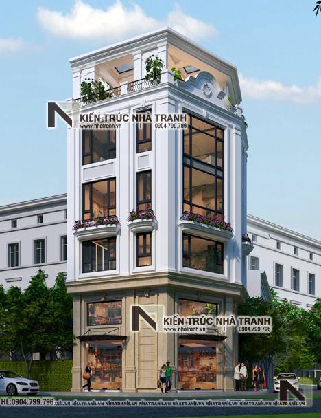 Ảnh: Phối cảnh tổng thể 02 mẫu thiết kế nhà lô góc 3 mặt tiền 6 tầng có thang máy kiến trúc Pháp để ở kết hợp kinh doanh NT-L3683