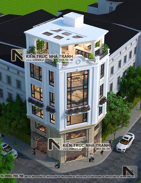 Ảnh: Phối cảnh tổng thể mẫu thiết kế nhà lô góc 3 mặt tiền 6 tầng có thang máy kiến trúc Pháp để ở kết hợp kinh doanh NT-L3683