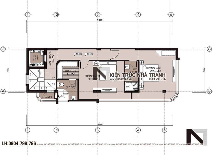 Ảnh: Mặt bằng tầng 2 mẫu thiết kế nhà lô góc hiện đại 2 mặt tiền 8 tầng có thang máy để ở kết hợp kinh doanh NT-L3684