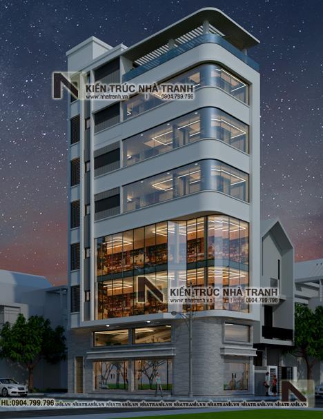 Ảnh: Mẫu thiết kế nhà lô góc hiện đại 2 mặt tiền 8 tầng có thang máy NT-L3684