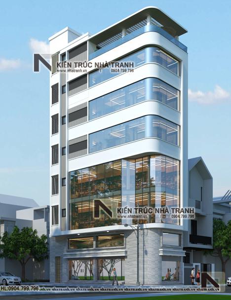 Ảnh: Phối cảnh tổng thể mẫu thiết kế nhà lô góc hiện đại 2 mặt tiền 8 tầng có thang máy để ở kết hợp kinh doanh NT-L3684