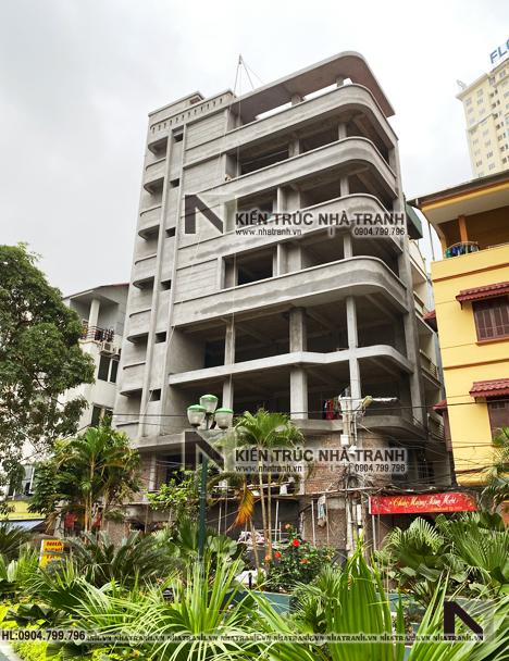 Ảnh: Hình ảnh thi công mẫu thiết kế nhà lô góc hiện đại 2 mặt tiền 8 tầng có thang máy để ở kết hợp kinh doanh NT-L3684