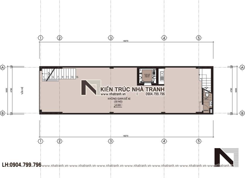 Ảnh: Mặt bằng quy hoạch tổng thể mẫu thiết kế nhà lô mặt tiền 5m 6 tầng 1 lửng có thang máy để ở kết hợp kinh doanh kiến trúc tân cổ điển NT - L3685