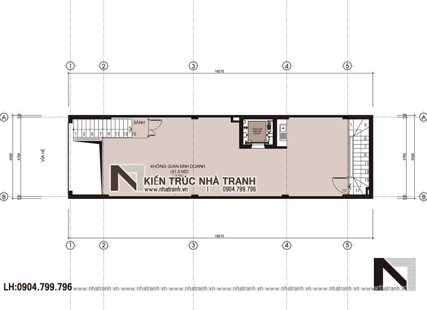 Ảnh: Mặt bằng chi tiết tầng 1 mẫu thiết kế nhà lô mặt tiền 5m 6 tầng 1 lửng có thang máy để ở kết hợp kinh doanh kiến trúc tân cổ điển NT - L3685