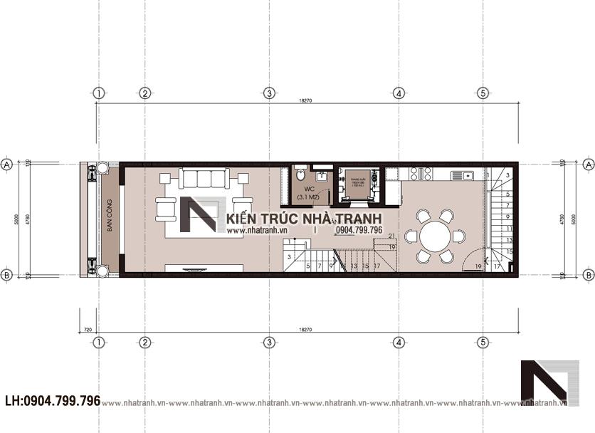 Ảnh: Mặt bằng chi tiết tầng lửng mẫu thiết kế nhà lô mặt tiền 5m 6 tầng 1 lửng có thang máy để ở kết hợp kinh doanh kiến trúc tân cổ điển NT - L3685