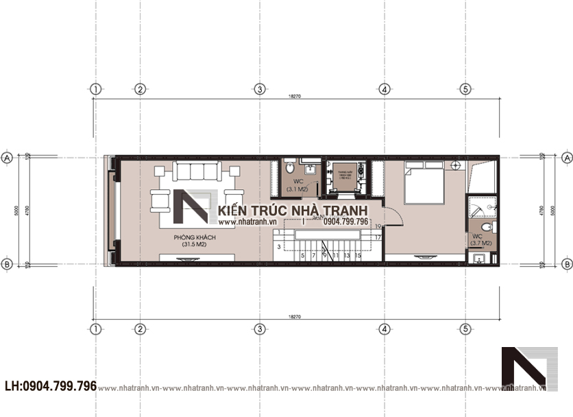 Ảnh: Mặt bằng chi tiết tầng 2,3,4 mẫu thiết kế nhà lô mặt tiền 5m 6 tầng 1 lửng có thang máy để ở kết hợp kinh doanh kiến trúc tân cổ điển NT - L3685