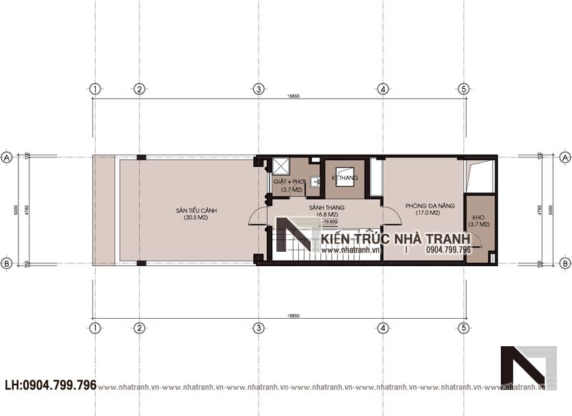 Ảnh: Mặt bằng chi tiết tầng 5 mẫu thiết kế nhà lô mặt tiền 5m 6 tầng 1 lửng có thang máy để ở kết hợp kinh doanh kiến trúc tân cổ điển NT - L3685