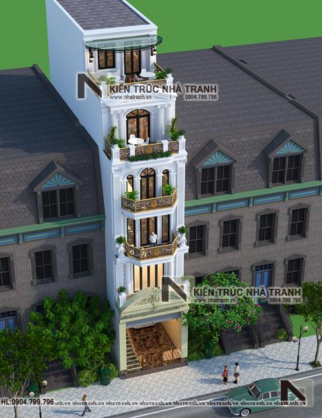 Ảnh: Phối cảnh tổng thể mẫu thiết kế nhà lô mặt tiền 5m 6 tầng 1 lửng có thang máy để ở kết hợp kinh doanh kiến trúc tân cổ điển NT - L3685