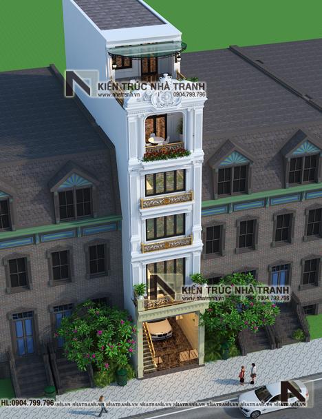 Ảnh: Phối cảnh tổng thể 02 mẫu thiết kế nhà lô mặt tiền 5m 6 tầng 1 lửng có thang máy để ở kết hợp kinh doanh kiến trúc tân cổ điển NT - L3685
