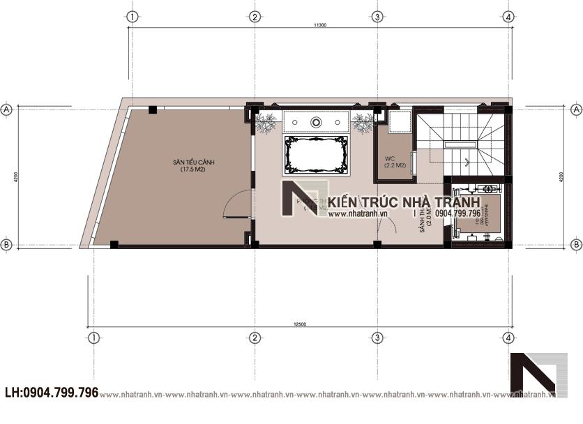 Ảnh: Mặt bằng tầng 2 mẫu nhà lô góc 2 mặt tiền 6 tầng 1 hầm có thang máy kiến trúc Pháp tân cổ điển NT-L3689