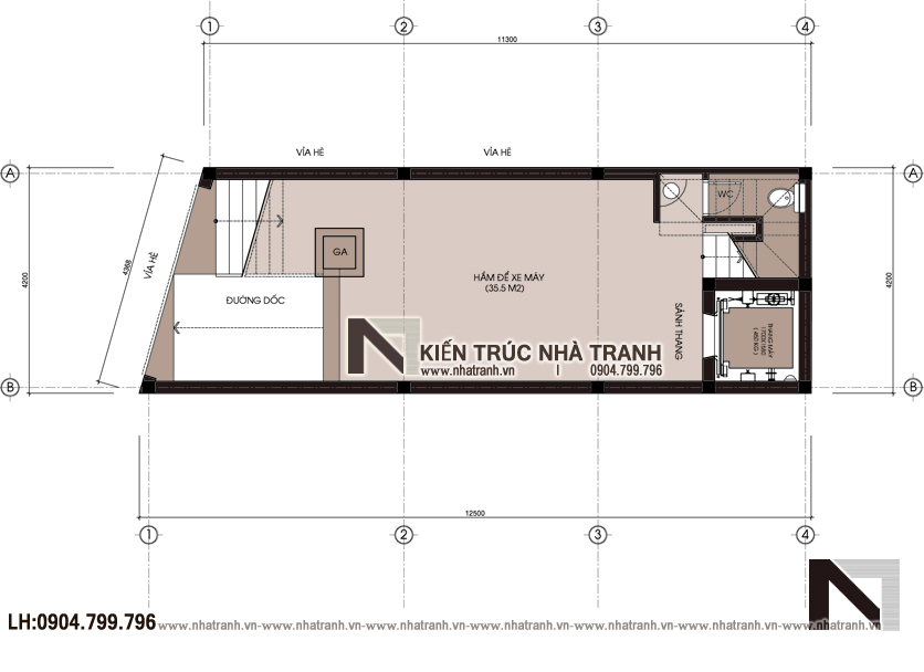 Ảnh: Mặt bằng quy hoạch tổng thể mẫu nhà lô góc 2 mặt tiền 6 tầng 1 hầm có thang máy kiến trúc Pháp tân cổ điển NT-L3689