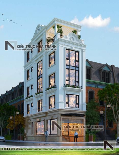 Ảnh: Phối cảnh tổng thể mẫu nhà lô góc 2 mặt tiền 6 tầng 1 hầm có thang máy kiến trúc Pháp tân cổ điển NT-L3689