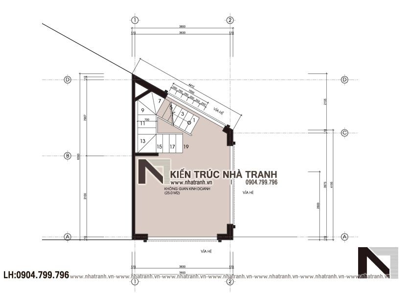 Ảnh: Mặt bằng tổng thể mẫu thiết kế nhà lô góc 3 mặt tiền 5 tầng - giải pháp thiết kế nhà siêu nhỏ siêu méo NT-L3686