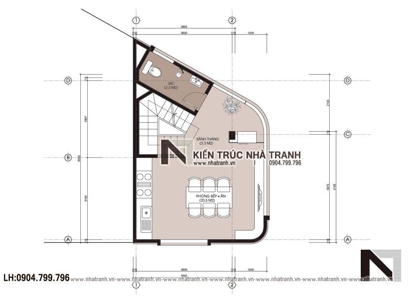 Ảnh: Mặt bằng tầng 2 mẫu thiết kế nhà lô góc 3 mặt tiền 5 tầng - giải pháp thiết kế nhà siêu nhỏ siêu méo NT-L3686