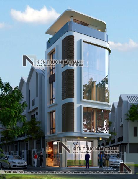 Ảnh: Phối cảnh tổng thể 02 mẫu thiết kế nhà lô góc 3 mặt tiền 5 tầng - giải pháp thiết kế nhà siêu nhỏ siêu méo NT-L3686