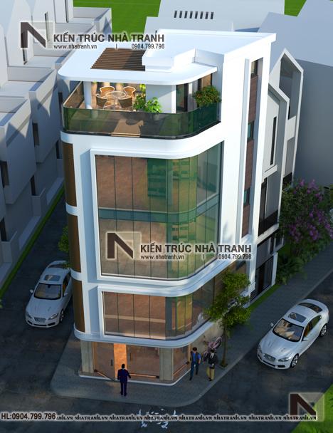 Ảnh: Phối cảnh tổng thể mẫu thiết kế nhà lô góc 3 mặt tiền 5 tầng - giải pháp thiết kế nhà siêu nhỏ siêu méo NT-L3686