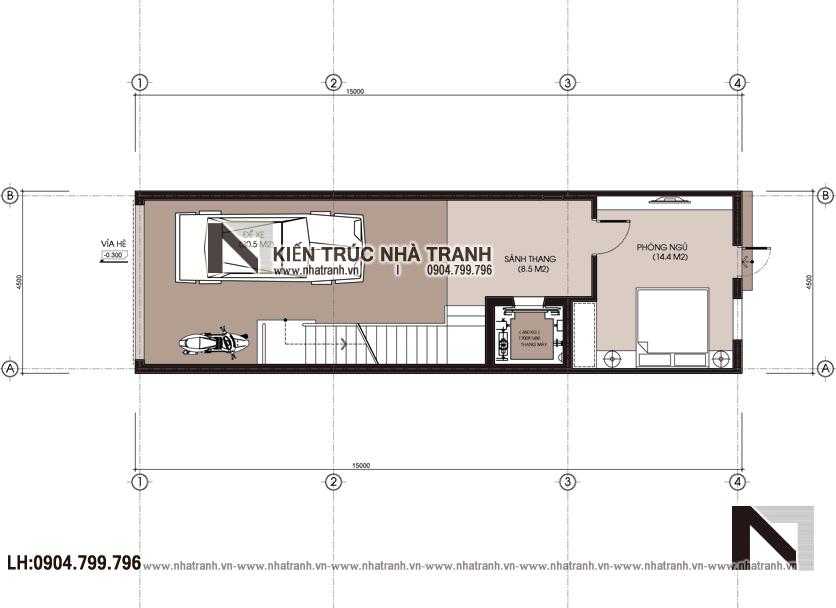 Ảnh: Mẫu bằng quy hoạch tổng thể mẫu thiết kế nhà lô ống lệch tầng có thang máy có giếng trời 5 tầng hiện đại NT-L3688