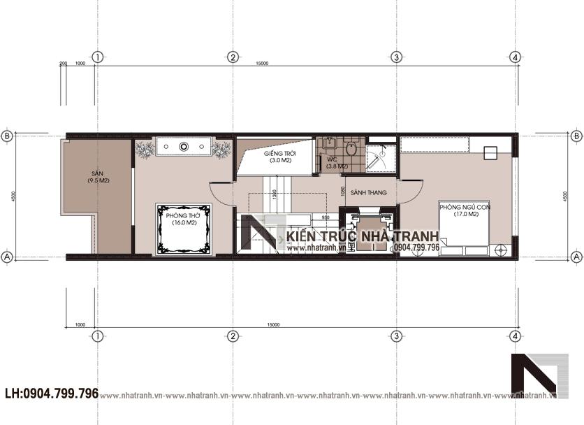 Ảnh: Mặt bằng chi tiết tầng 2 mẫu thiết kế nhà lô ống lệch tầng có thang máy có giếng trời 5 tầng hiện đại NT-L3688