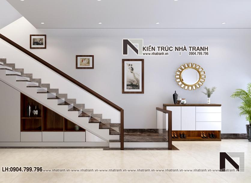 Ảnh: Phối cảnh tầng 1 mẫu thiết kế nhà lô ống lệch tầng có thang máy có giếng trời 5 tầng hiện đại NT-L3688