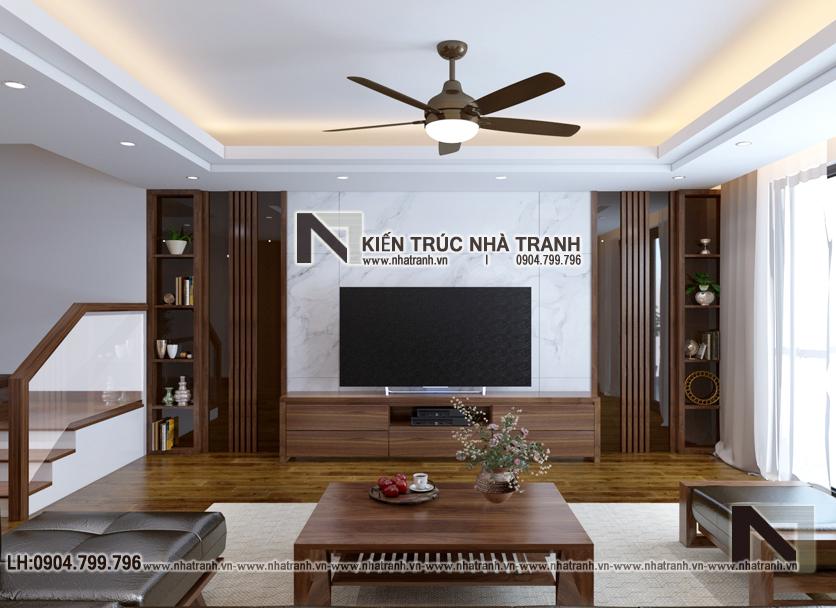 Ảnh: Phối cảnh phòng khách tầng 2 mẫu thiết kế nhà lô ống lệch tầng có thang máy có giếng trời 5 tầng hiện đại NT-L3688