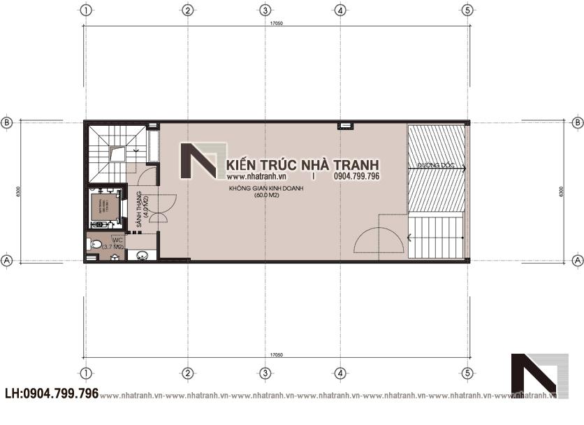 Mặt bằng chi tiết tầng 1,2 mẫu thiết kế nhà lô 7 tầng có hầm có thang máy để ở kết hợp kinh doanh NT-L3687