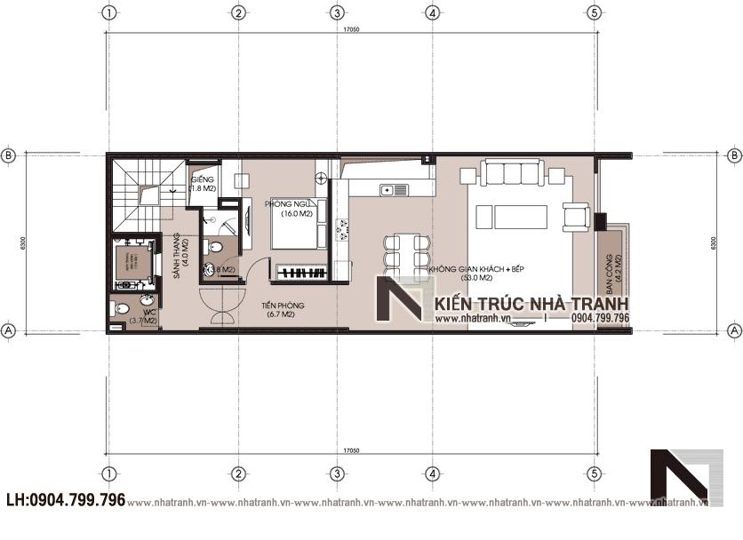 Ảnh: Mặt bằng chi tiết tầng 3 mẫu thiết kế nhà lô 7 tầng có hầm có thang máy để ở kết hợp kinh doanh NT-L3687