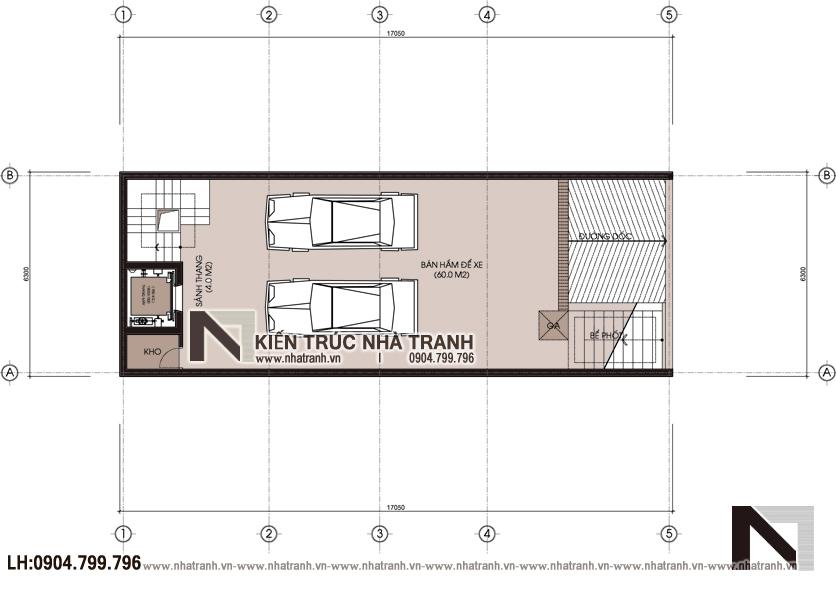 Ảnh: Mặt bằng quy hoạch tổng thể mẫu thiết kế nhà lô 7 tầng có hầm có thang máy để ở kết hợp kinh doanh NT-L3687