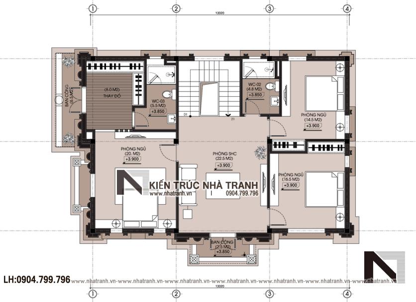 Ảnh: Mặt bằng tầng 2 mẫu thiết kế biệt thự tân cổ điển kiến trúc Pháp 3 tầng mặt tiền 9m 8m 10m 11m 12m 15m có tầng hầm sân ăn ngoài trời NT-B6389