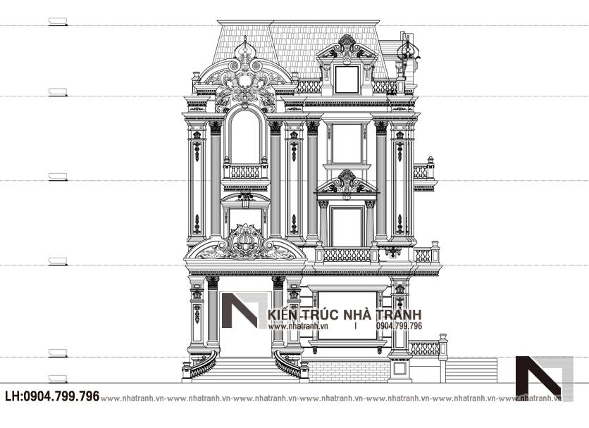 Ảnh: Mặt đứng mẫu thiết kế biệt thự tân cổ điển kiến trúc Pháp 3 tầng mặt tiền 9m 8m10m 11m 12m 15m có tầng hầm sân ăn ngoài trời NT-B6389