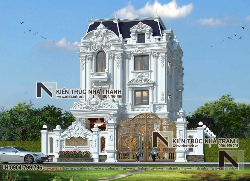 Ảnh: Phối cảnh tổng thể 02 mẫu thiết kế biệt thự tân cổ điển kiến trúc Pháp 3 tầng mặt tiền 9m 8m 10m 11m 12m 15m có tầng hầm sân ăn ngoài trời NT-B6389